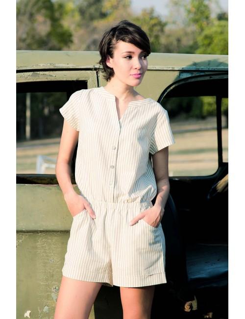 Edna Short Jumpsuit, Grey