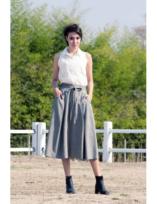 Vena Pleats Cotton Skirt, Grey