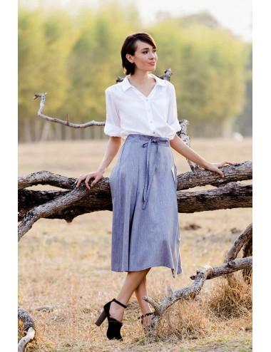 Vena Pleats Cotton Skirt, Blue