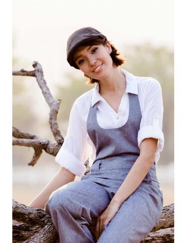 Flat Linen Hat, Black