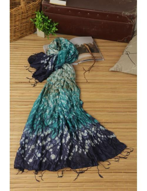 Feather Silk Scarf, DeepSea