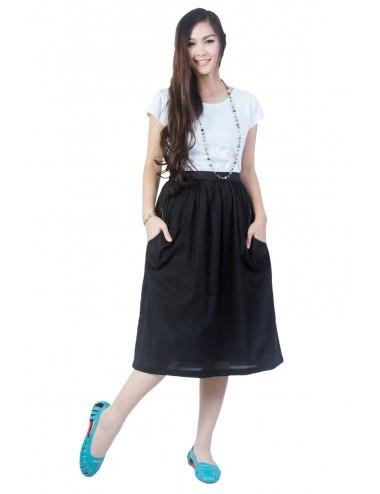Ploy Cotton Full Skirt, Black.
