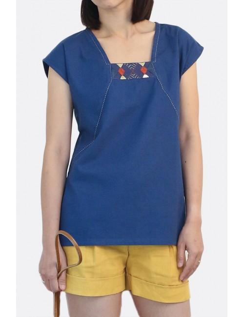 Talula Cotton Linen Top , Blue
