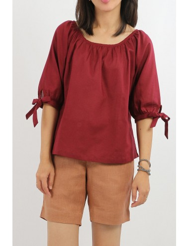 Brew Cotton Blouse, Red