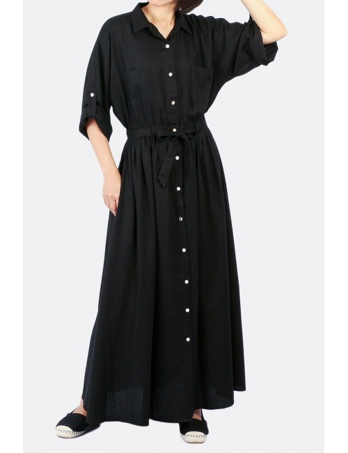 Bret Maxi Shirt Dress, Black
