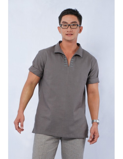 Crane Cotton Linen Top, Grey