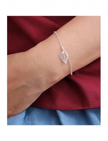 Simple Leaf Silver Bracelet