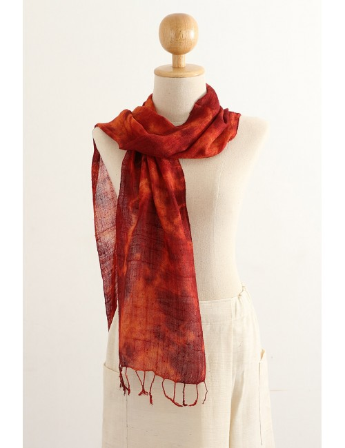 Silk Scarf Stormy Colors, Red