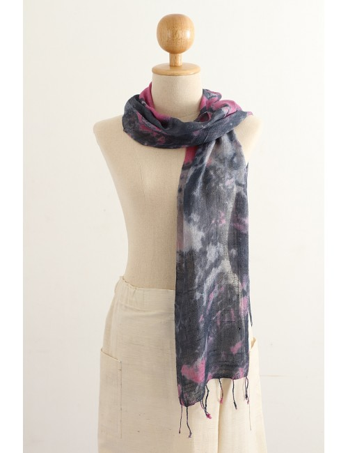 Silk Scarf Stormy Colors, Pink