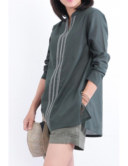 Iccha Cotton Tunic, Green,...