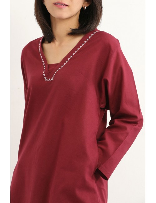 Anemone Cotton Tunic, Red,...
