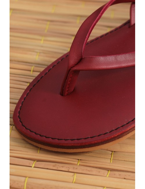 Leather Slippers, Red Burgundy