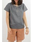 Rena Short Sleeves Linen...