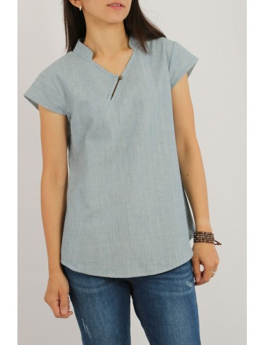 Evie Cotton Blouse, Blue,...