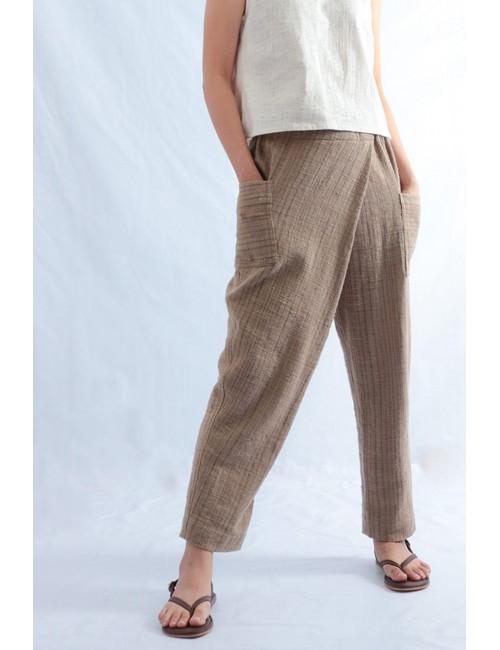 Eira Cotton Pants, Brown,...