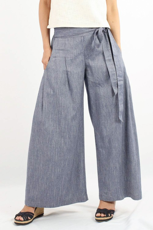 Samuro Chambray Wide Leg...