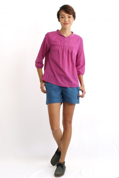 Vida Cotton Blouse, Red Violet