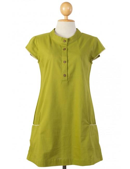 Polo Cotton Tunic, Green, Moss