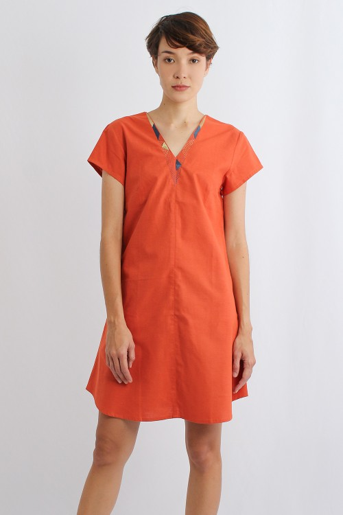 Ogin Cotton Linen V Dress,...