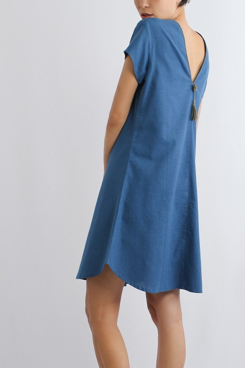 Ogin Cotton Linen V Dress,...