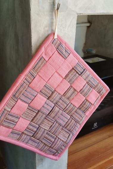 Hand Woven Pot Mat, Pink