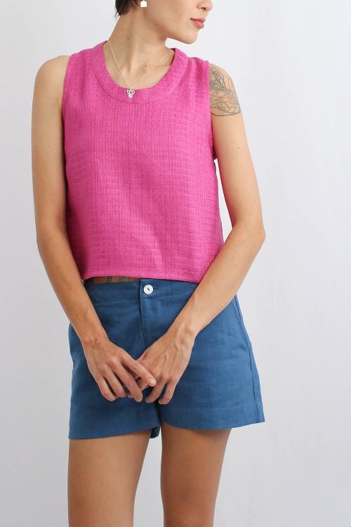 Breezy Linen Crop Top, Pink