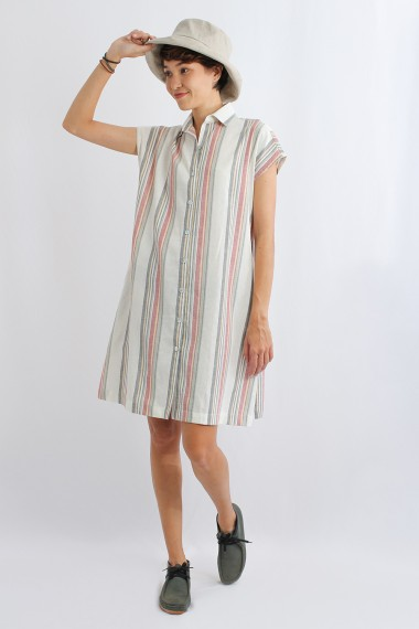 Adele Linen Shirt Dress, White