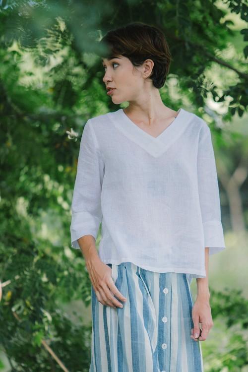 Anika Linen Blouse, White