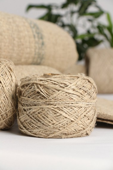 Hand Spun Hemp Yarn, Natural