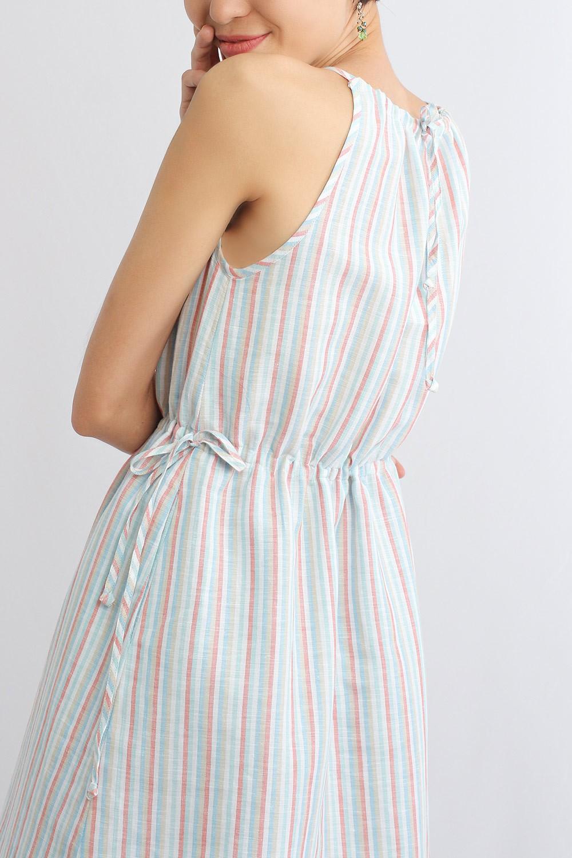 Renie Strip Linen Dress,...