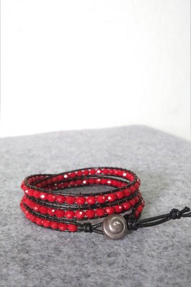 Bing Wrap Bracelet, Red