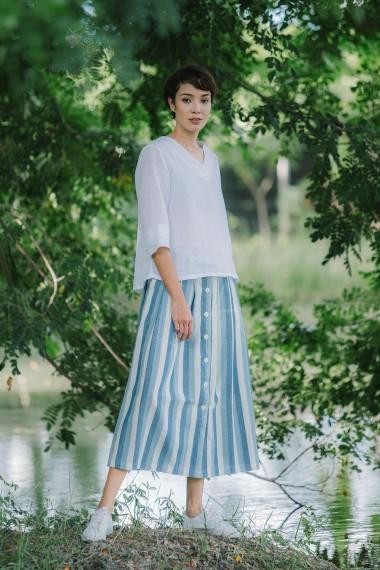 Stripe Cotton Skirt,...
