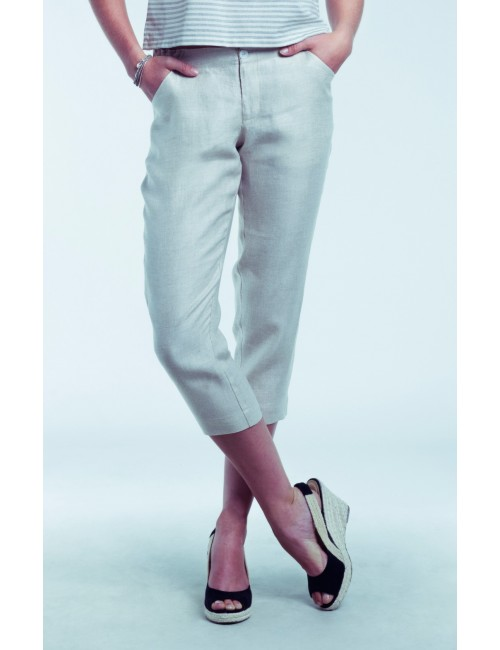 Gretta Cropped Linen Pants,...
